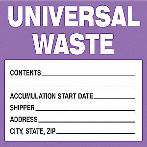"Paper Waste Label, 6"" Height, 6"" Width"