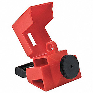 "Circuit Breaker Lockout, Clamp-On, 480/600, Red, 9/32"" Padlock Shackle Max. Dia., 1 EA"