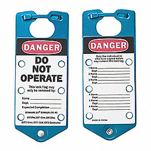 "Lockout Hasp, Hasp/Lockout Tag Combination, Blue, 7-1/4"" Length, 5 PK"