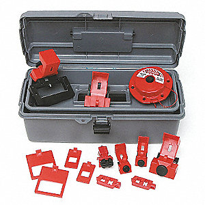 Portable Lockout Kit, Filled, Electrical Lockout, Tool Box, Gray