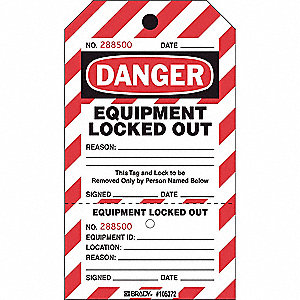 "Danger Tag, Plastic, Equipment Locked Out, 7-1/2"" x 4"", 25 PK"