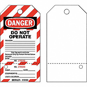 "Danger Tag, Cardstock, Do Not Operate Reason, 5-3/4"" x 3"", 25 PK"