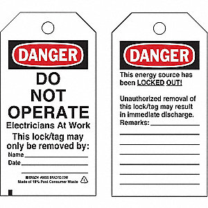 Danger Tag, Laminated Polyester