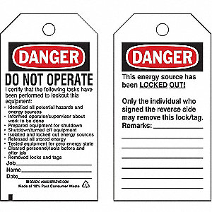 Danger Tag,5-3/4 x 3 In,OSHA,3/8 In,PK25