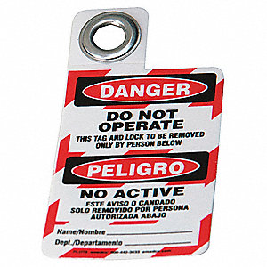 Danger Bilingual Tag, Calendered Vinyl
