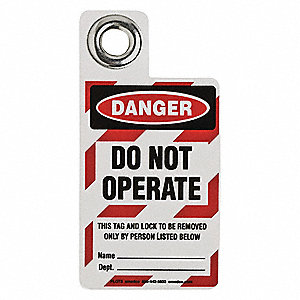 Danger Tag,3 x 2 In,Bk and R/Wht,Met