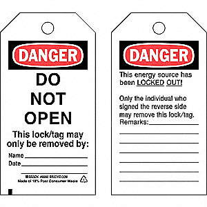 "Danger Tag, Cardstock, Do Not Open This Lock/Tag May Only Be Removed By, 5-3/4"" x 3"", 25 PK"
