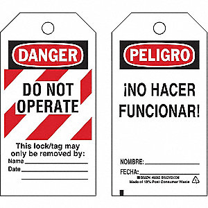 "Danger Bilingual Tag, Polyester, Do Not Operate This Lock/Tag May Only Be Removed By, 5-3/4"" x 3"""
