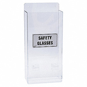"8"" x 4"" x 17-1/4"" Plastic Economy Visitor Spec Dispenser, Black/Clear&#x3b; Holds (20) Glasses or Goggles"