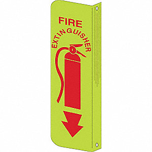 "Fire Equipment, No Header, Plastic, 12"" x 4"", With Mounting Holes, Not Retroreflective"