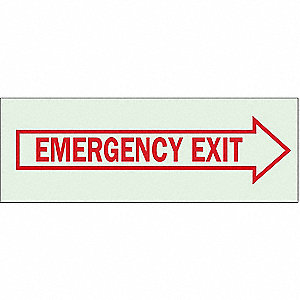 "Sign, Emergency Exit, 3-1/2""x10"""