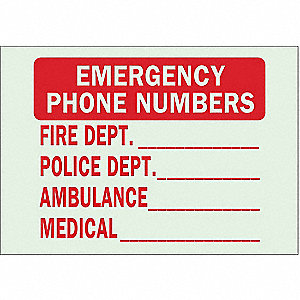 "Information, Emergency Phone Numbers, Plastic, 7"" x 10"", With Mounting Holes, Not Retroreflective"