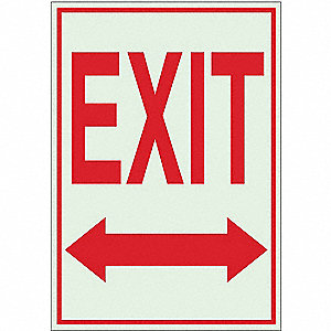 Exit Sign,14 x 10In,R/GRN,Exit,ENG,SURF