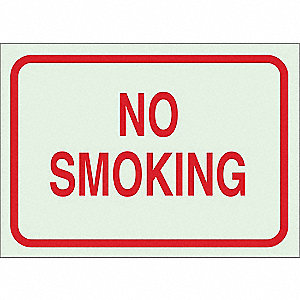 No Smoking Sign,10 x 14In,R/GRN,ENG,Text