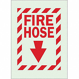 Fire Hose Sign,14 x 10In,R/GRN,FH,ENG