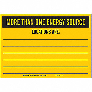 "Facility, More Than One Energy Source, Vinyl, 7"" x 10"", Adhesive Surface, Not Retroreflective"