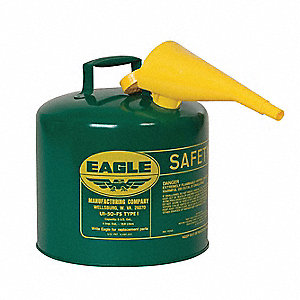 5 gal. Type I Safety Can, Used For Oil, Green&#x3b; Includes F 15 Funnel