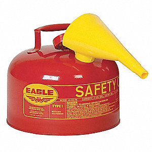2-1/2 gal. Type I Safety Can, Used For Flammables, Red&#x3b; Includes F 15 Funnel
