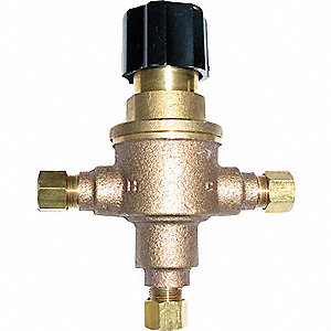 "3/8"" Compression Inlet Type Mixing Valve, Brass, 0.25 to 4.5 gpm"