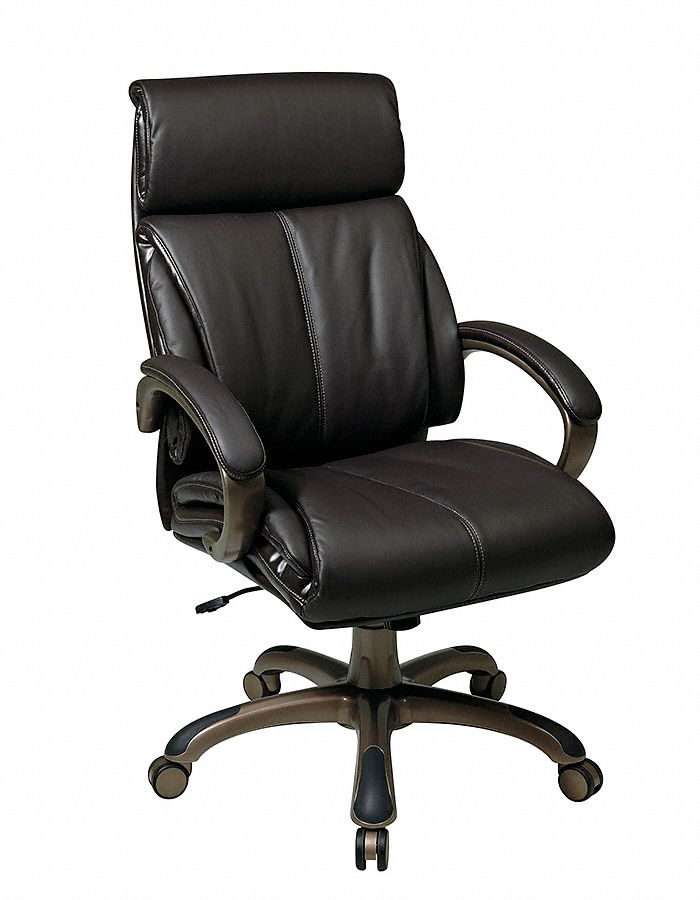 Office Star Espresso Eco Leather Executive Chair 25 3 4 Back Height Arm Style Fixed 15z239 Ech68801 Ec1 Grainger
