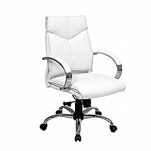 "White Leather Executive Chair 21"" Back Height, Arm Style: Fixed"