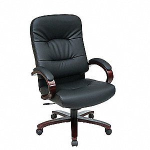 "Work Smart Black Eco Leather Executive Chair, 46-1/4"" Overall Height"