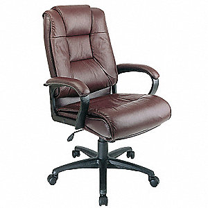 "Burgundy Soft Leather Executive Chair 26-1/2"" Back Height, Arm Style: Fixed"