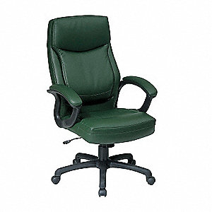 "Green Eco Leather Executive Chair 30"" Back Height, Arm Style: Fixed"