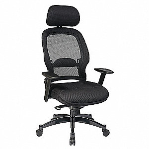 "Managers Chair,Mesh,Black,20-22"" Seat Ht"