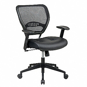 "Space Black Leather Desk Chair, 42"" Overall Height"