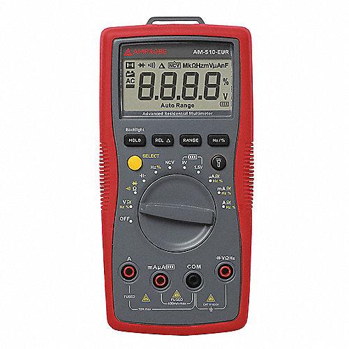 Multímetro Digital, 4000 Conteos, Precisión ±1%, TRMS, Amperes Máx. CA 10, Voltios Máx. CA 600