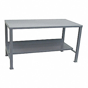 "Workbench, Steel Frame Material, 48"" Width, 24"" Depth  Steel Work Surface Material"