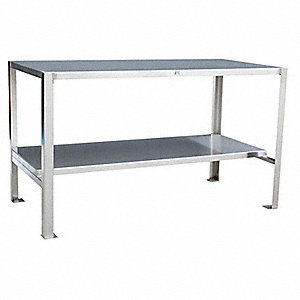 "Fixed Height Work Table, Stainless Steel, 48"" Depth, 35"" Height, 24"" Width,1500 lb. Load Capacity"