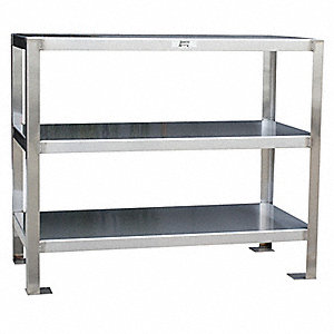 "Fixed Height Work Table, Stainless Steel, 18"" Depth, 32"" Height, 30"" Width,1200 lb. Load Capacity"