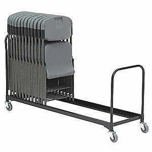 "100""L x 21""W x 38-1/2""H Black Folding Chair Cart, 510 lb. Load Capacity"