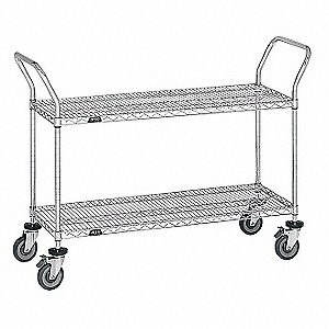 "Lacquered Zinc Wire Cart, 18"" Shelf Width, 36"" Shelf Length"