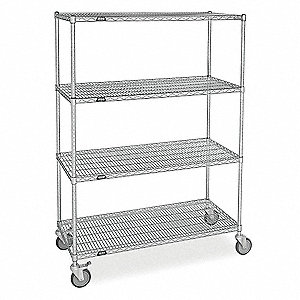"Mobile Wire Shelving Unit, 48""W x 24""D x 74""H, 4 Shelves, Zinc Plated Finish, Silver"