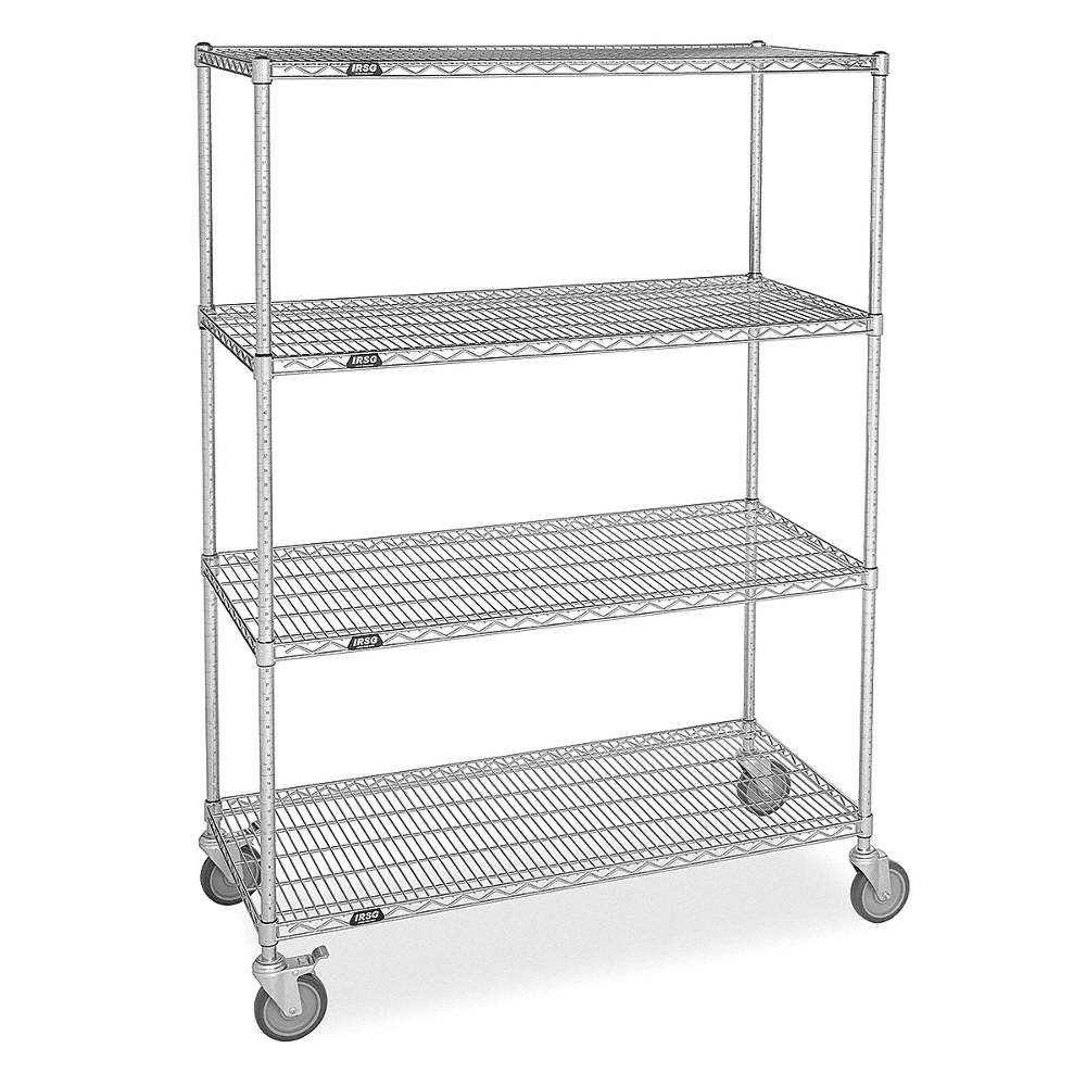 GRAINGER APPROVED Mobile Wire Shelving Unit, 48\