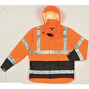 Rain Jacket, High Visibility: Yes, ANSI Class: Class 3, Type P, Polyester, Polyurethane, L, Black/Or