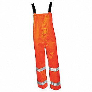 Rain Bib Overall, High Visibility: Yes, ANSI Class: Class E, Polyester, Polyurethane, 4XL, Orange