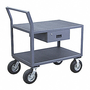 "43""H x 25""W x 54""D Instrument Cart, 1200 lb. Load Capacity, Number of Shelves: 2"