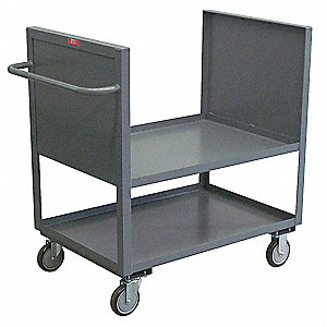 "54""L x 25""W x 40""H Gray Welded Steel Box Truck, 1400 lb. Load Capacity, Number of Shelves: 2"