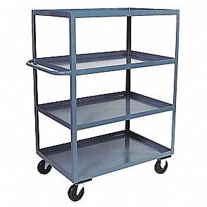 "66""L x 31""W x 60""H Gray Welded Steel Stock Cart, 3000 lb. Load Capacity, Number of Shelves: 4"