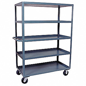"66""L x 25""W x 68""H Gray Welded Steel Stock Cart, 3000 lb. Load Capacity, Number of Shelves: 5"
