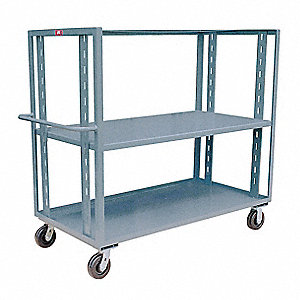 "42""L x 25""W x 57""H Gray Welded Steel Open Stock Cart, 3000 lb. Load Capacity, Number of Shelves: 2"