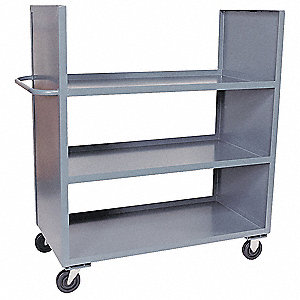 "66""L x 37""W x 57""H Gray Welded Steel Stock Cart, 3000 lb. Load Capacity, Number of Shelves: 3"