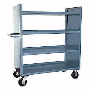 "42""L x 25""W x 57""H Gray Welded Steel 2 Sided Solid Stock Cart, 3000 lb. Load Capacity, Number of She"