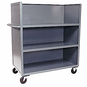 "66""L x 31""W x 57""H Gray Welded Steel 3 Sided Solid Truck, 3000 lb. Load Capacity, Number of Shelves:"