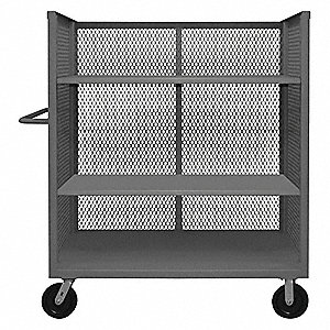 "54-1/2""L x 36-3/8""W x 56-7/16""H Gray Welded Steel 3 Sided Mesh Stock Cart, 3000 lb. Load Capacity, N"