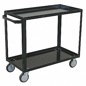 "42""L x 25""W x 33""H Black Steel Welded Utility Cart, 800 lb. Load Capacity, Number of Shelves: 2"